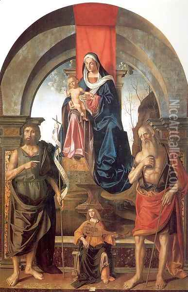 Virgin and Child Enthroned between Saints John the Baptist and Jerome 1510 Oil Painting - Marco Palmezzano