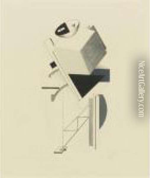 Sentinel From Victory Over The Sun Oil Painting - Eliezer Markowich Lissitzky