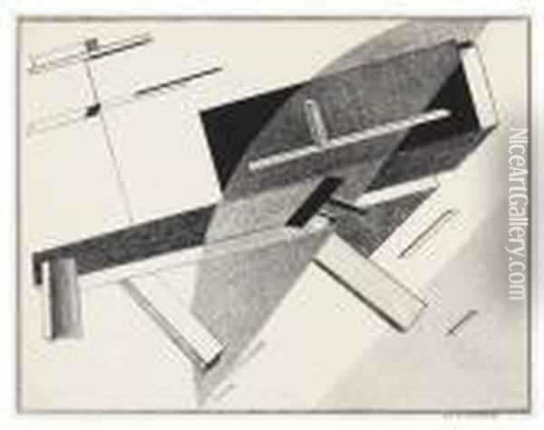 Proun B 2 - Lithographie 2 B Oil Painting - Eliezer Markowich Lissitzky