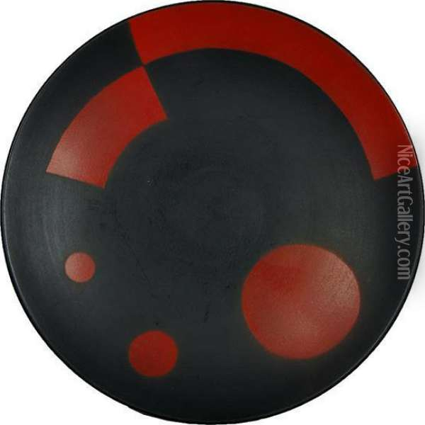 Black With Red Constructionist Design Ceramic Plate Oil Painting - Eliezer Markowich Lissitzky