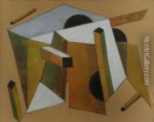 Abstrakte Komposition Oil Painting - Eliezer Markowich Lissitzky