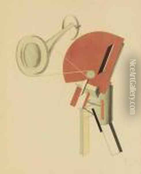 Ansager, Plate 2 From Sieg Uber Die Sonne Oil Painting - Eliezer Markowich Lissitzky