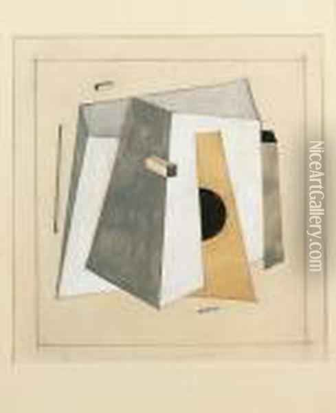 Proun 14 With Truncated Four-sided Pyramid Oil Painting - Eliezer Markowich Lissitzky