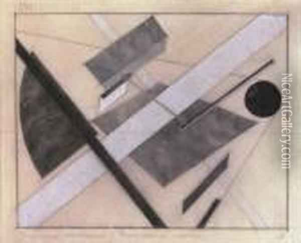 Proun: Path Of Energy And Dynamic Flows Oil Painting - Eliezer Markowich Lissitzky