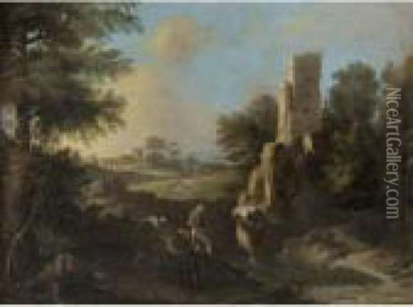 Landscape With Fishermen Near A Ruined Tower Oil Painting - Andrea Locatelli