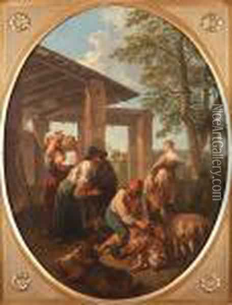 Peasants Sheep-shearing In An Italianate Landscape Oil Painting - Andrea Locatelli
