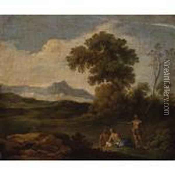 Pastoral Landscape With Figures Resting In The Foreground Oil Painting - Andrea Locatelli