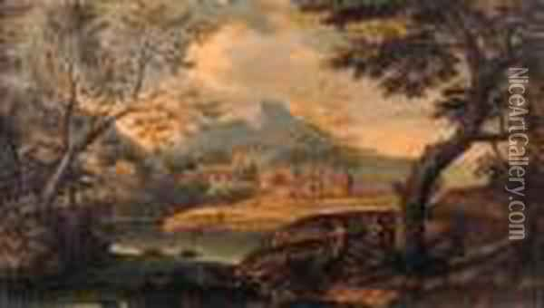 An Italianate River Landscape With Travellers On A Track Oil Painting - Andrea Locatelli
