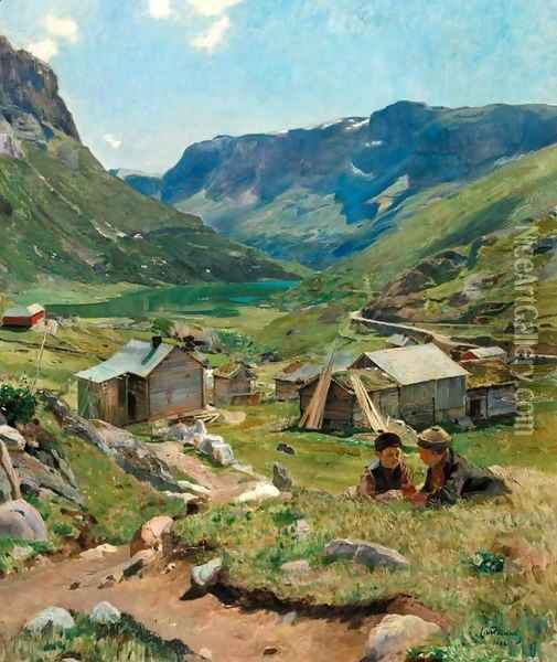 Summer Day: View of the Valley at Skogstad (Sommerdag, utsikt over dalen ved Skogstad) Oil Painting - Eilif Peterssen
