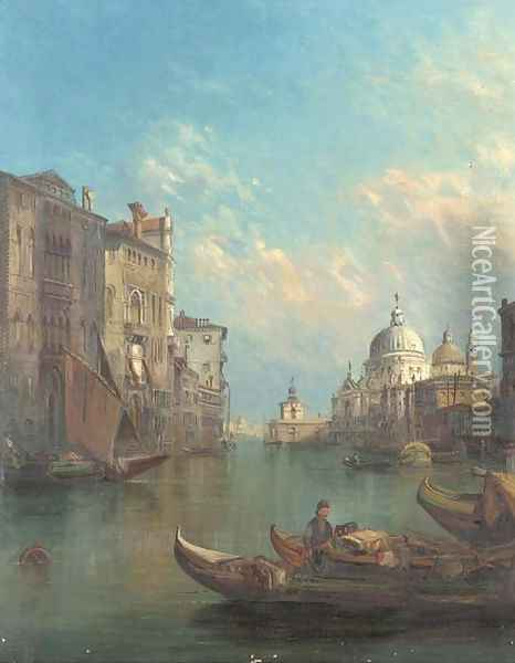 On the Grand Canal towards Santa Maria Della Salute, Venice Oil Painting - Alfred Pollentine