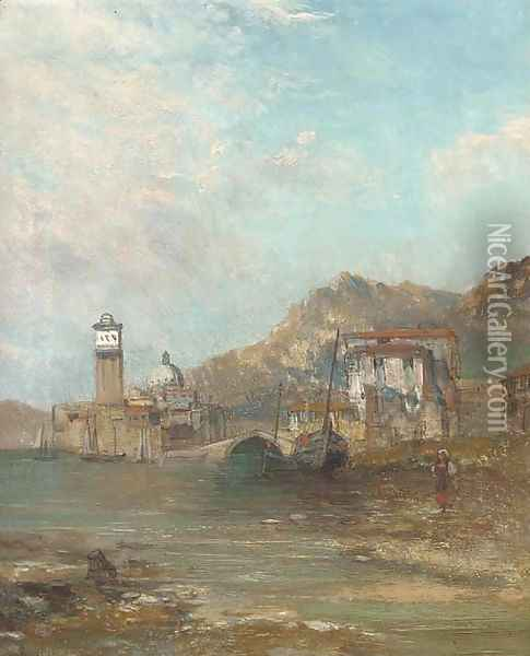 Figure and boats at a harbour mouth with a church beyond Oil Painting - Alfred Pollentine