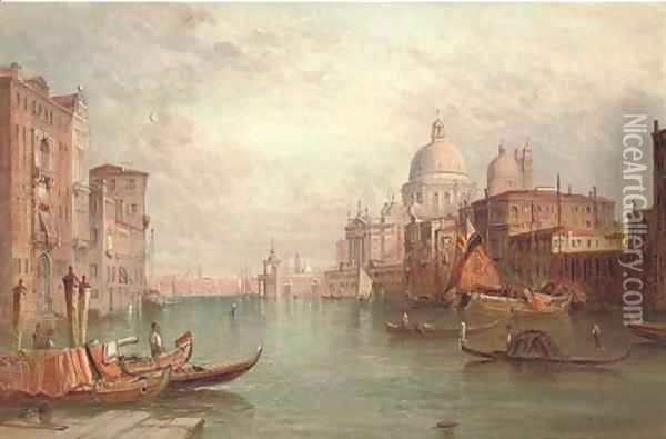Santa Maria della Salute on the Grand Canal, Venice Oil Painting - Alfred Pollentine