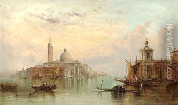 The Dogana, Venice, looking towards Santa Maria Maggiore Oil Painting - Alfred Pollentine