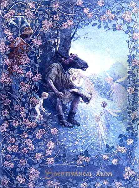 Illustration from A Midsummer Nights Dream by William Shakespeare 1565-1616 c.1900 Oil Painting - Christian August Printz
