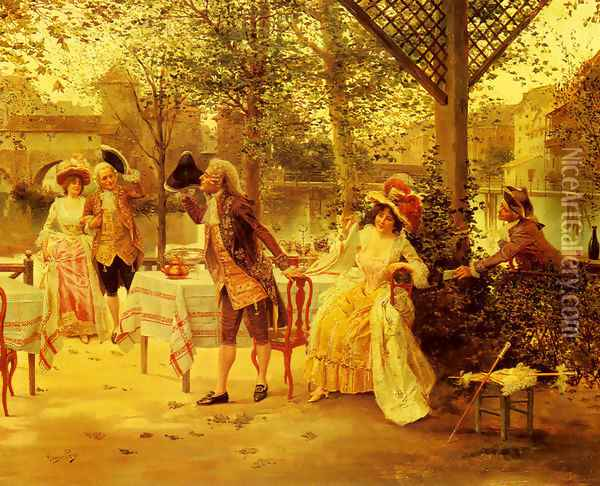 A Cafe By The River Oil Painting - Alonso Perez