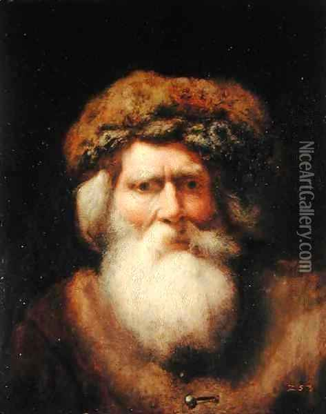 Portrait of an Old Man with Fur Hat, 1654 Oil Painting - Christoph Paudiss