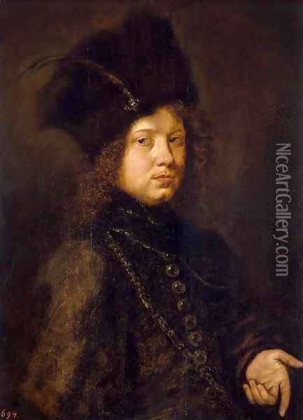 Portrait of a Young Man in a Fur Hat Oil Painting - Christoph Paudiss