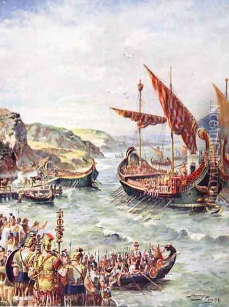 The departure of the Romans from Britain, illustration from The History of the Nation Oil Painting - Henry A. (Harry) Payne