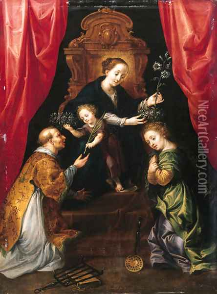 The Madonna and Child enthroned, adored by Saint Lawrence and Saint Martha Oil Painting - Marten Pepijn
