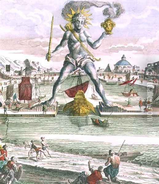 The Colossus of Rhodes, detail of the statue straddling the entrance to the harbour Oil Painting - Georg Balthasar Probst