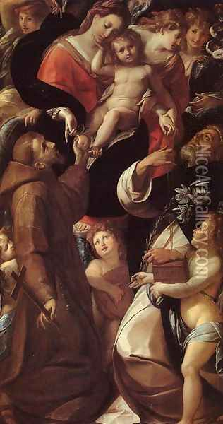Madonna and Child with Saints and Angels Oil Painting - Giulio Cesare Procaccini