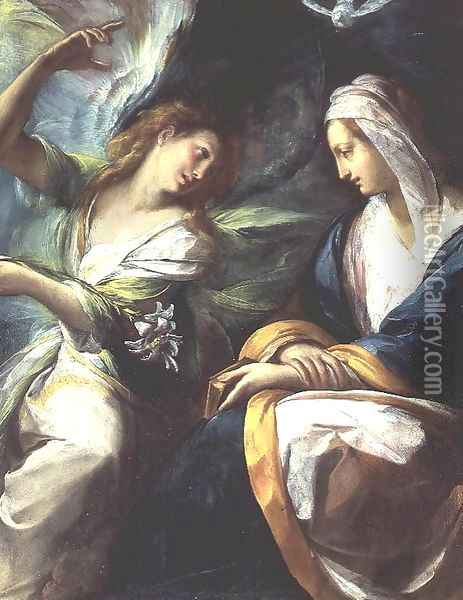 The Annunciation, c.1610 Oil Painting - Giulio Cesare Procaccini