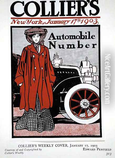 Cover illustration for the Automobile Number, Colliers Magazine, January 17th 1903 Oil Painting - Edward Penfield