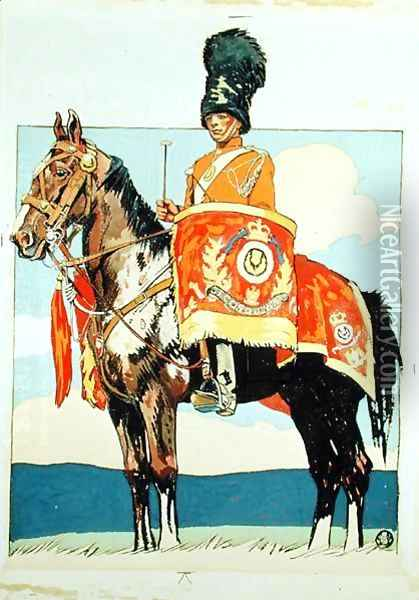 Drum Horse of the Scots Greys, 1915 Oil Painting - Edward Penfield