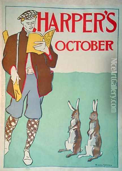 Poster advertising Harpers Magazine, October 1895 Oil Painting - Edward Penfield