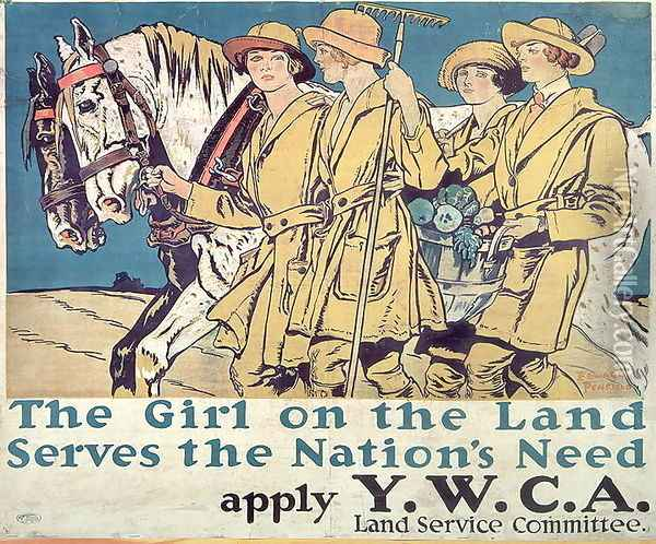 The Girl on the Land Serves the Nations Need, World War I YWCA poster Oil Painting - Edward Penfield