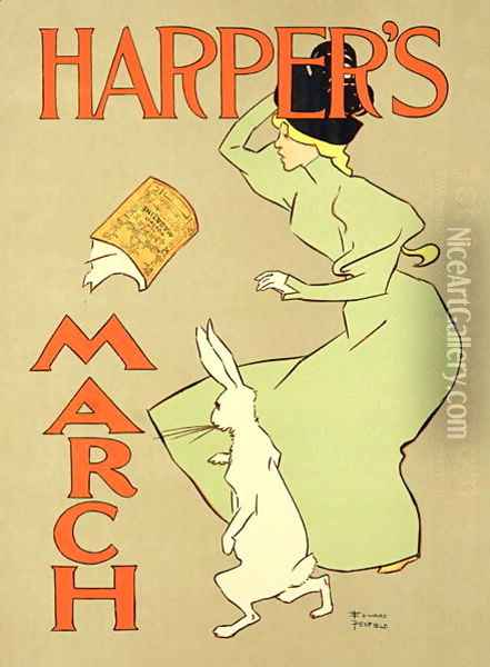 Reproduction of a poster advertising Harpers Magazine, March edition, American, 1894 Oil Painting - Edward Penfield