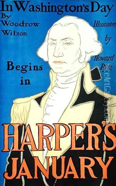 Cover illustration for Harpers magazine, featuring In Washington's Day by Woodrow Wilson 1856-1924, January 1896 Oil Painting - Edward Penfield