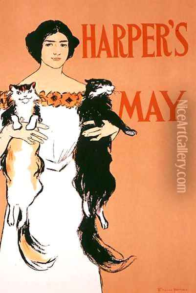 Reproduction of a poster advertising the May Issue of Harpers Magazine, 1897 Oil Painting - Edward Penfield