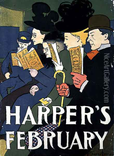 Harpers February, 1897 Oil Painting - Edward Penfield