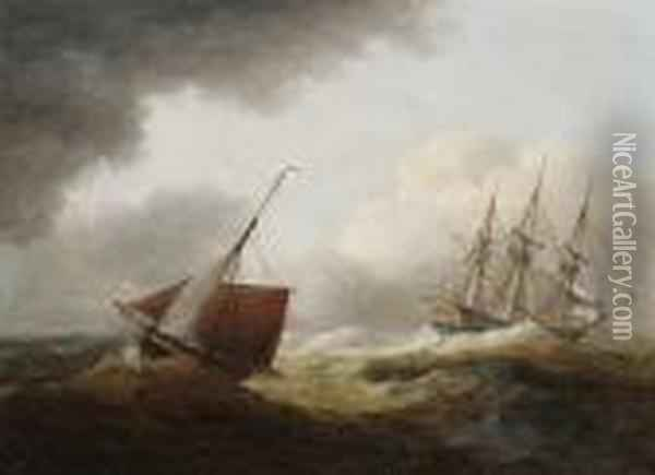 Shipping In A Swell Oil Painting - Thomas Luny