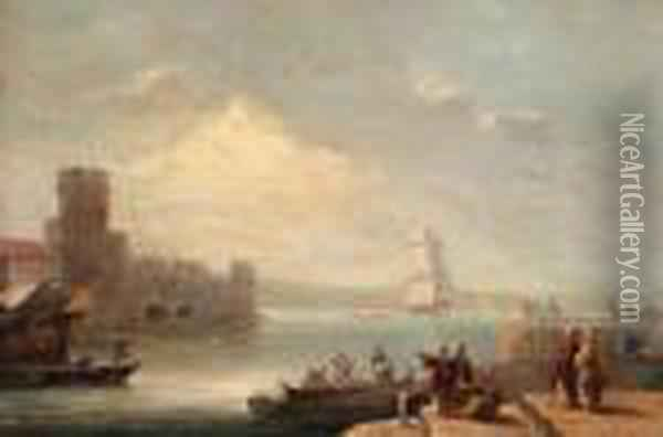 A New Arrival Off A Levantine Port Oil Painting - Thomas Luny