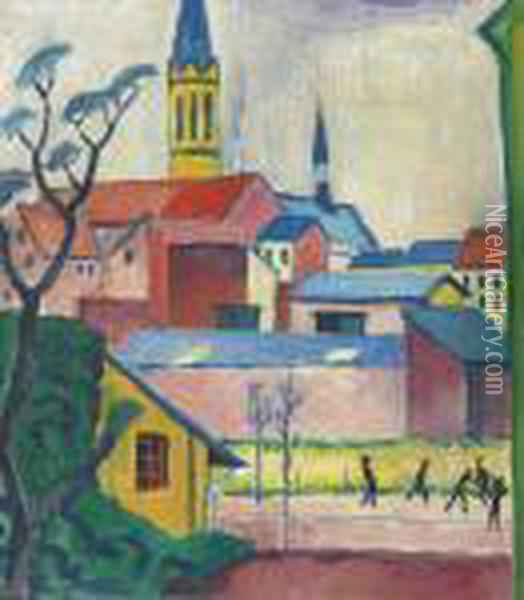 Marienkirche Oil Painting - August Macke