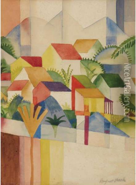 Rooftops Of Tunis Oil Painting - August Macke