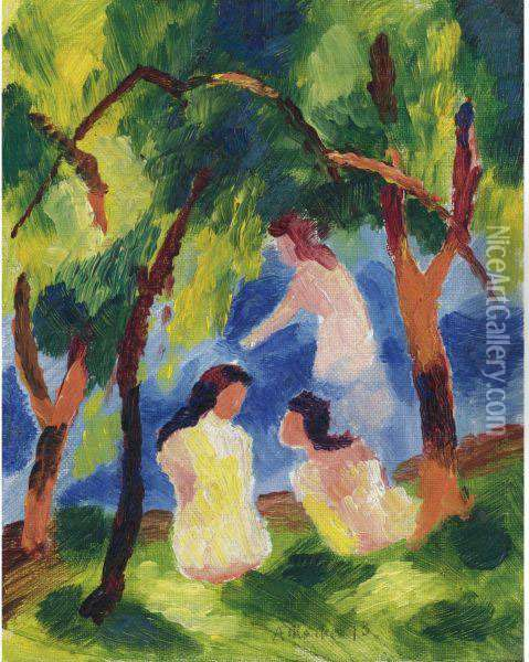 Badende Madchen (girls Bathing) Oil Painting - August Macke