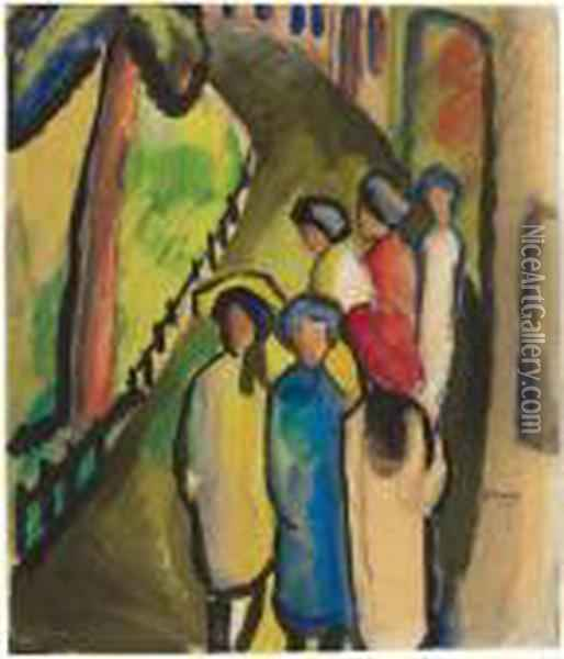 Madchen Amabend Oil Painting - August Macke