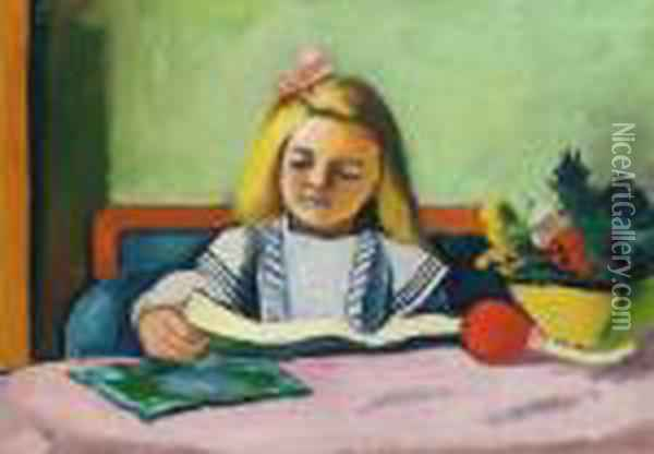 Blondes Madchen Mit Buch Oil Painting - August Macke