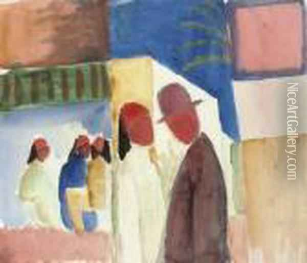 Auf Der Strasse With The Nachlass Stamp Oil Painting - August Macke