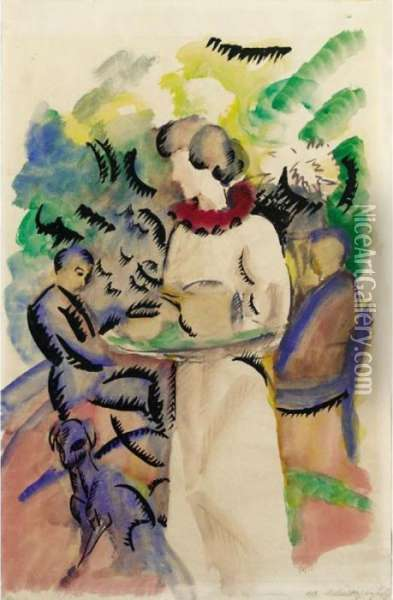 Nachmittag Im Garten (afternoon In The Garden) Oil Painting - August Macke