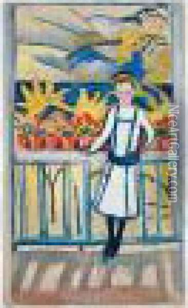 Madchen Am Balkon I, Tegernsee (girl On A Balcony I: Tegernsee) Oil Painting - August Macke