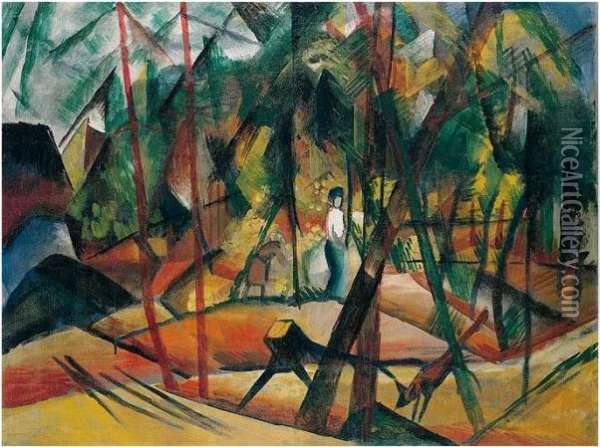 Waldspaziergang (forest Walk) Oil Painting - August Macke