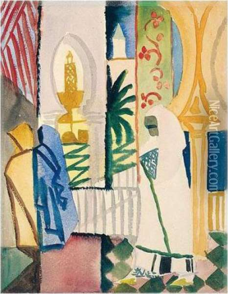 In Der Tempelhalle (in The Temple Hall) Oil Painting - August Macke