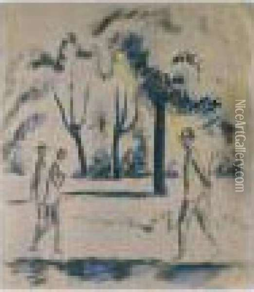 Park Mit Spaziergangern (park With Passers-by) Oil Painting - August Macke