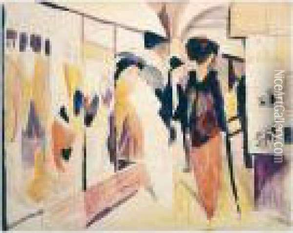 Modegeschaft Im Laubengang (fashion Shop In A Leafy Street) Oil Painting - August Macke