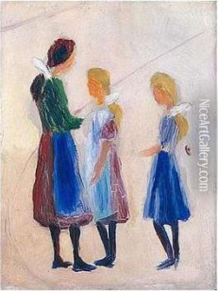 Drei Madchen Mit Weissen Haarschleifen (three Girls With White Bows) Oil Painting - August Macke