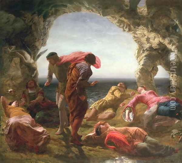 Scene from The Tempest, 1856 Oil Painting - Paul Falconer Poole
